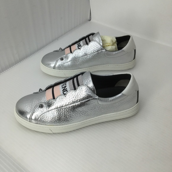 Fendi Silver Grained Metallic Leather